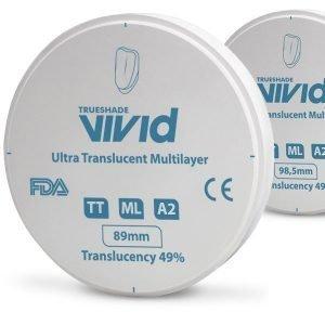 Disco Zirconio Ultra Translucido Multicapa Color A2