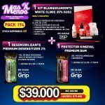 [PACK194] 1 Kit Blanqueamiento White Clinic 35% DSP + 1 Desensibilizante + 1 Protector Gingival Premium grip