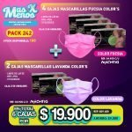 [PACK242] 4 Cajas Mascarillas Fucsia + 2 Cajas Mascarillas Lavanda Color´s Machtig