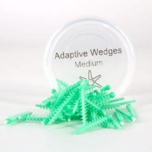 Cuñas Siliconadas Flexibles Adaptive Wedges color verde enbase redondo trasnparente