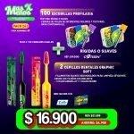 [PACK263A] 100 Escobillas Profilaxia Rígidas Cotisen + 2 Cepillos dentales Graphic Soft Tepe