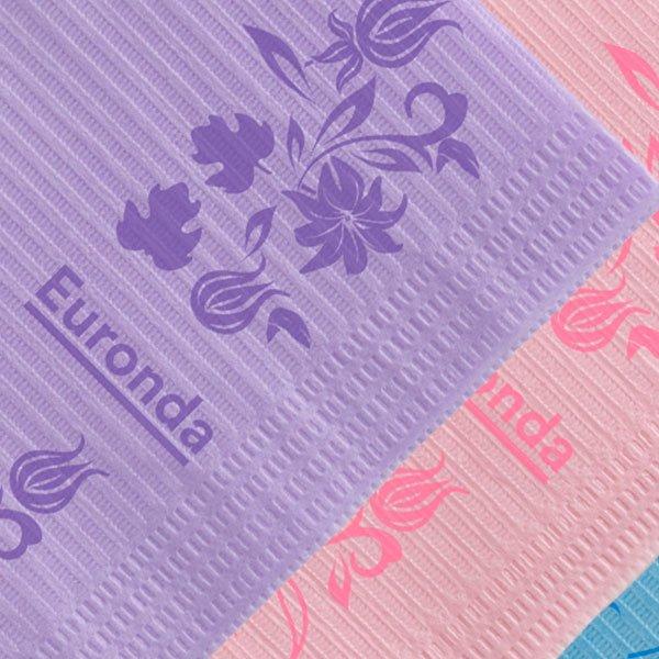 Pecheras Servilletas Towel Up Floral lila y rosada