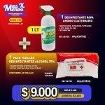 [PACK279] 1 lt Desinfectante Ropa Amonio Machtig + 1 Pack Toallas Desinfectantes Alcohol 75%