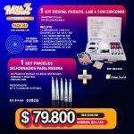 [PACK281] 1 Kit Resina Parafil Lab 4 Prime Dental + 1 Set Pinceles siliconados Ehros