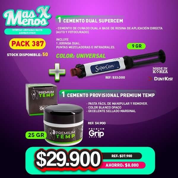 1 Cemento dual Supercem Universal Dentkist + 1 Cemento Provisional Premium Temp Premium grip