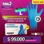 [PACK418] 10 Cajas Guantes de Nitrilo Celeste talla L World