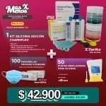 1 Kit Silicona Adición CharmFlex Dentkist (Putty + Regular) +50 Puntas Mezcladoras Amarillas Cotisen + 100 Mascarillas faciales 3 pliegues Sterivic Medical